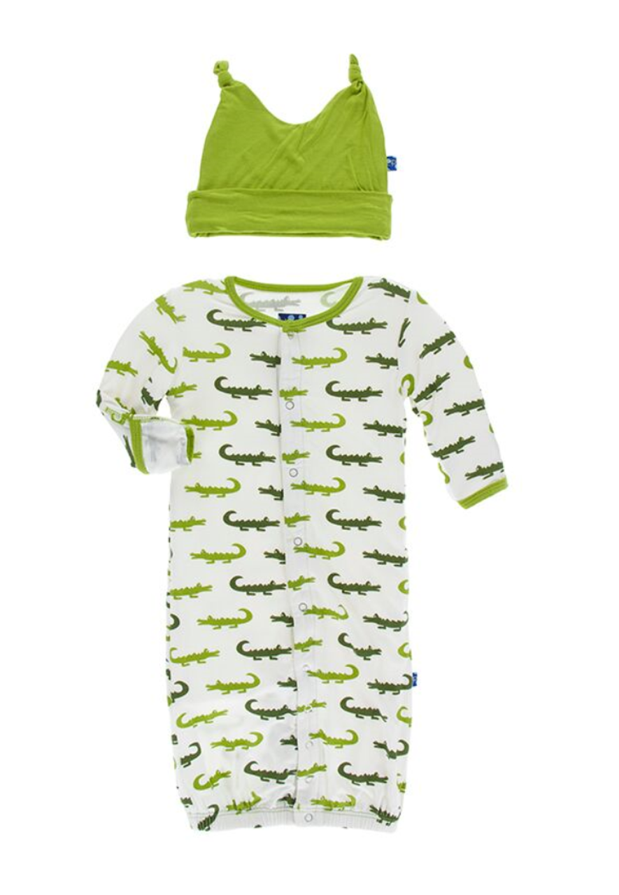 Kickee Pants Layette Gown Converter & Knot Hat Set - Natural ...