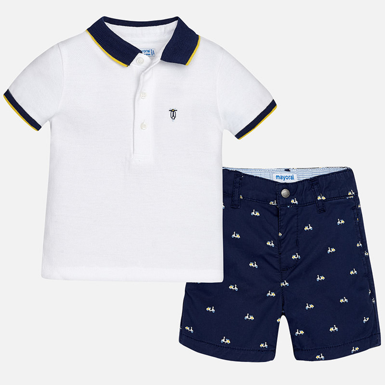 Mayoral Baby Boys Polo And Shorts Set Blue Two Birdees