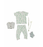 Imps & Elfs Short Sleeve Shortall, Sleepy Grey/Growing Green