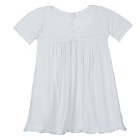 Kickee Pants Basic Short Sleeve Swing Dress, Natural (w/ Keyhole and Button Closure)