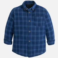 Mayoral Boys Double Stitch Shirt, Denim Blue