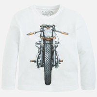 Mayoral Boys Long Sleeve Motorbike Tee, White