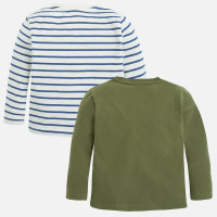 Mayoral Boys Long Sleeve Tee Set of 2, Hunt Green/Stripes