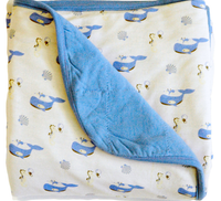 Kyte Baby 2.5 Quilted Bamboo Print Toddler Blanket, Sky/Ocean