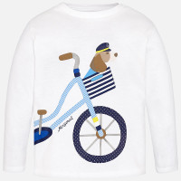 Mayoral Baby Boys Long Sleeve Bicycle Tee, White