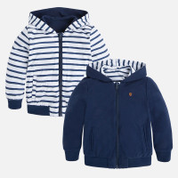 Mayoral Boys Reversible Striped Hoodie, Blue