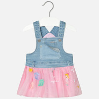 Mayoral Baby girl skirted denim overall, Petal