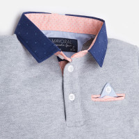 Mayoral Boy short sleeve polo with contrast collar, Gray