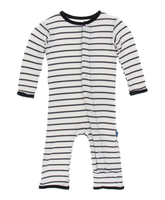 Kickee Pants Print Coverall with Snaps - Neutral Parisian Stripe
