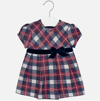 Mayoral Girls short-sleeved plaid Dress, Navy
