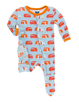 Kickee Pants Print Footie with Snaps - Pond Camper