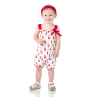 Kickee Pants Print Gathered Romper with Bow - Natural Gumball Machine