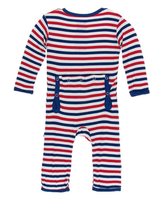 Kickee Pants Print Coverall with Snaps - USA Stripe