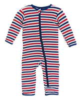Kickee Pants Print Coverall with Zipper - USA Stripe