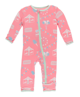 Kickee Pants Print Coverall with Zipper - Strawberry Carnival