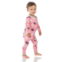 Kickee Pants Print Ruffle Coverall with Snaps - Strawberry Cowgirl