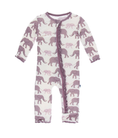 Kickee Pants Print Muffin Ruffle Coverall with Zipper  - Natural Elephant
