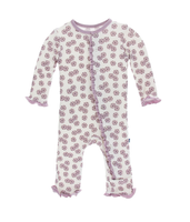 Kickee Pants Print Layette Classic Ruffle Coverall with Snaps -  Natural Lantana