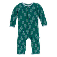 Kickee Pants Print Coverall with Snaps - Ivy Tennis