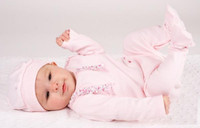 Emile et Rose Pink Ruffle Footie and Hat - Felicia