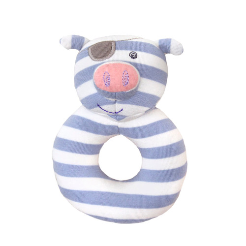 Apple Park - Organic Cotton Pirate Pig Teething Rattle