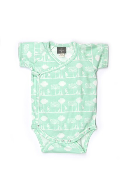 Kate Quinn 100% Organic Cotton Short Sleeve Kimono Bodysuit, Flora and Fauna