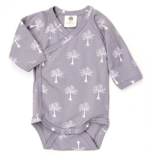 Kate Quinn 100% Organic Cotton Long Sleeve Kimono Bodysuit, Tree