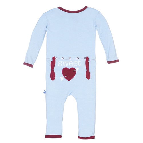 Kickee Pants Holiday Applique Coverall, Pond Sweet Heart