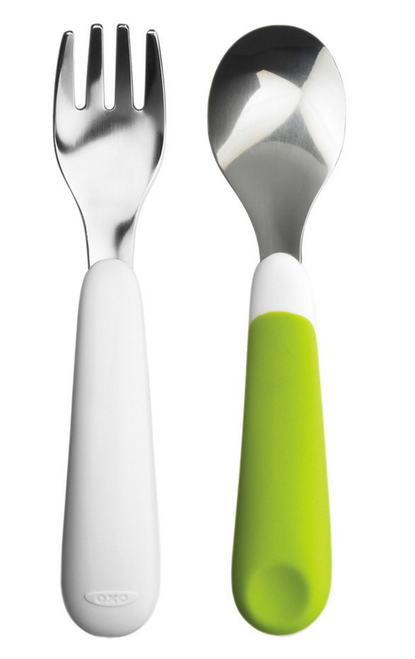 OXO TOT Fork & Spoon Set, Green
