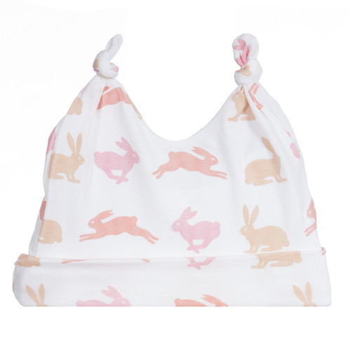 Kickee Pants Print Double Knot Hat, Girl Natural Hare