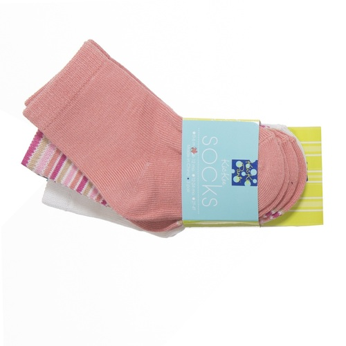KicKee Pants Stretch Bamboo Sock Set of 3, Natural, Girl Forest Stripe & Blush