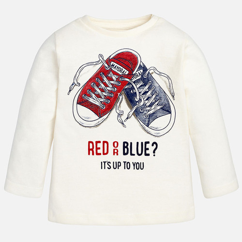 Mayoral Baby Boys Long Sleeve Sneakers Tee, Natural