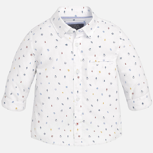 Mayoral Boys Long Sleeve Woodland Shirt, White