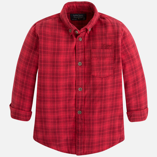Mayoral Boys Double Stitch Shirt, Cherry