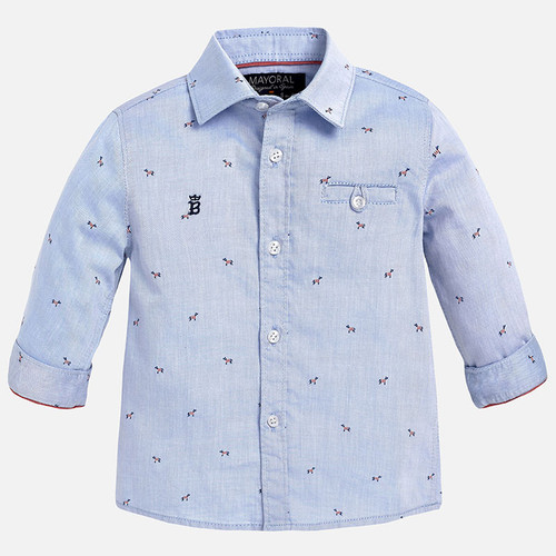 Mayoral Baby Boys Dog Print Twill Shirt, Lightblue
