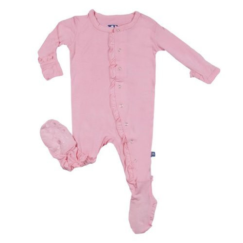 KicKee Pants Girls Ruffle Footie, Lotus