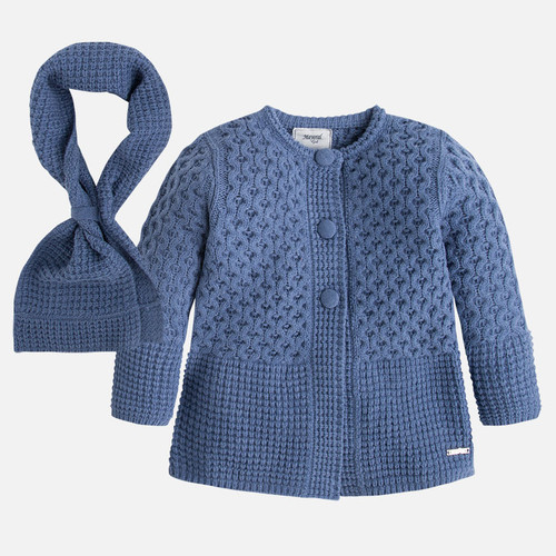 Mayoral Girls Tricot Coat With Scarf, Blue