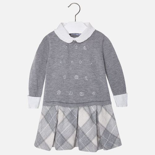 Mayoral Girls Knitted Check Dress, Grey