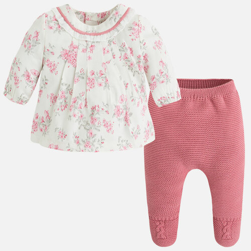 Mayoral Baby Girls Knit Footed Trousers Set, Blush