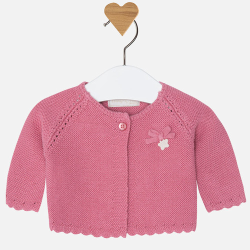 Mayoral Baby Girls Knitted Long Cardigan, Blush