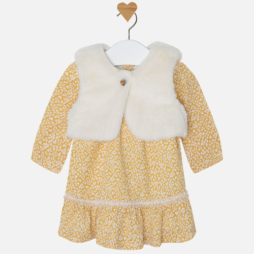 Mayoral Baby Girls Dress and Vest Set, Mustard