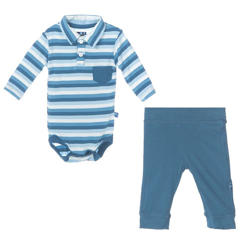 Kickee Pants Polo Pocket One Piece and Pant Outfit Set, Boy Salty Seas Stripe