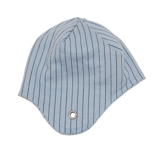 Go Gently 100% Organic Cotton Fleece Aviator Hat, Blue Stone Pinstripe