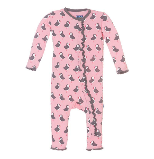 Kickee Pants Fitted Muffin Ruffle Coverall, Lotus Puffin
