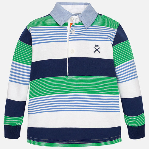 Mayoral Baby Boys Long Sleeve Striped Polo, Arugula