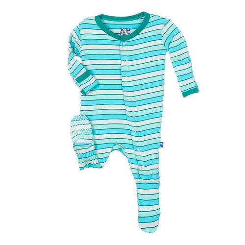 Kickee Pants Print Footie, Boy Tropical Stripe