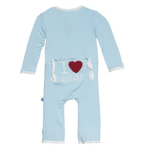 Kickee Pants Holiday Fitted Applique Coverall, Pond I Love Mom