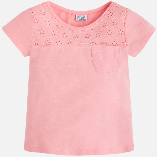 Mayoral Girls Embroidered Tee, Flamingo
