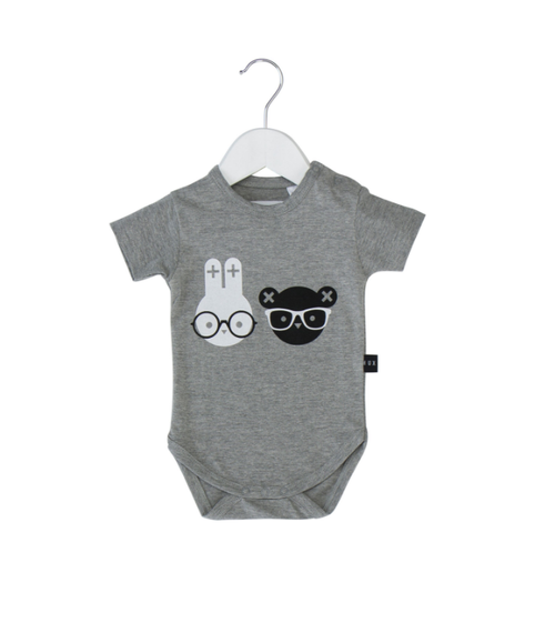 Huxbaby Organic Cotton Nerd Twins Onesie, Grey