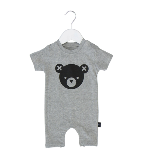 Huxbaby Organic Cotton Bear Essentials Short Romper, Grey Marle